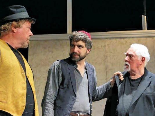 Deming actor Algernon D'Ammassa (center) plays Shylock. With Mark Steffen and Richard Rundell.