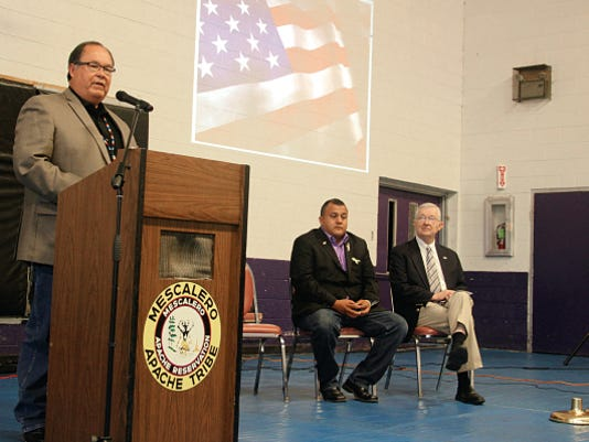 Mescalero Tribe President Danny Breuninger, left, addresses attendees at a VBOC outreach event Friday afternoon.