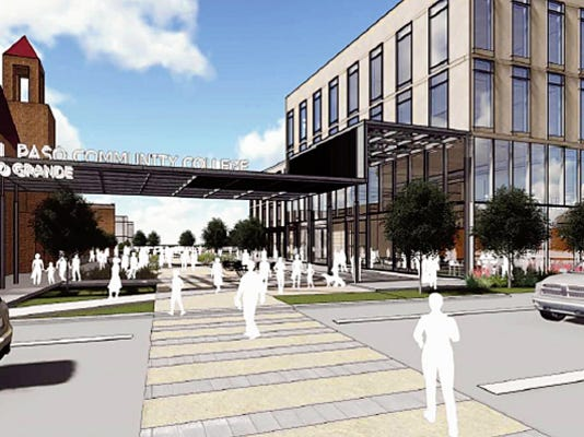 Phase two would include a building in this view looking east at a new pedestrian mall on West Rio Grande Boulevard.