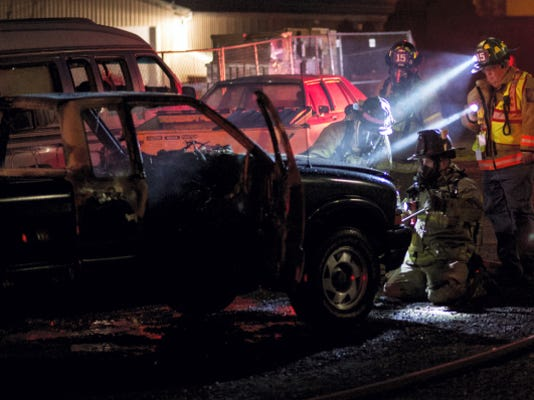 Lebanon city fire crews responded to a truck fire at the rear of 675 N. Eighth Street on Wednesday at 6:48 p.m.