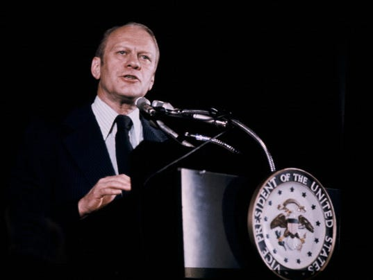 Portrait Of Gerald Ford In Press Conference On 1974