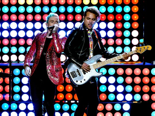 Nicholas Petricca and Kevin Ray of Walk The Moon perform during the 2015 American Music Awards at Microsoft Theater on Nov. 22, 2015 in Los Angeles.
