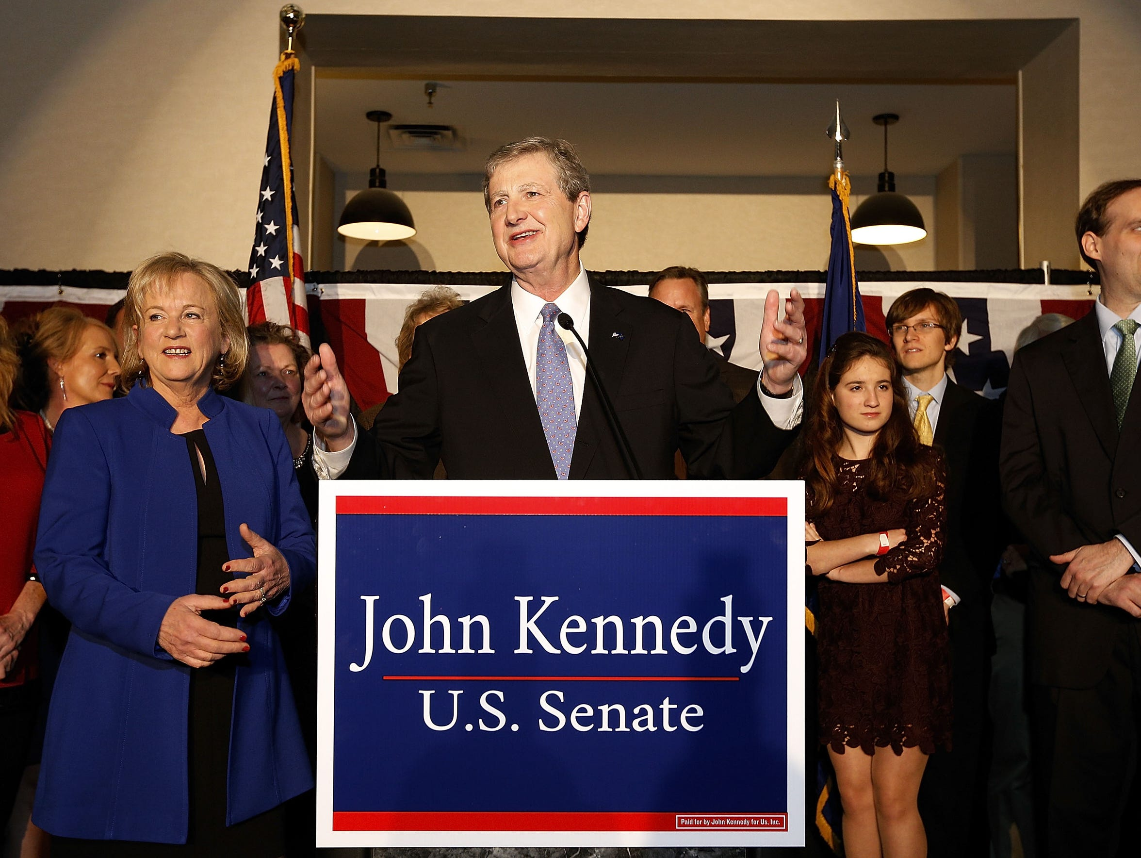 John Kennedy delivers a victory speech during an election