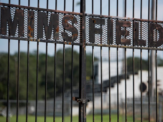 The stadium at Mims Field in Billingsley, Ala., shown on Wednesday August 23, 2017, has been condemned. The Billingsley High School football team will have to play their regular season home games at other schools.
