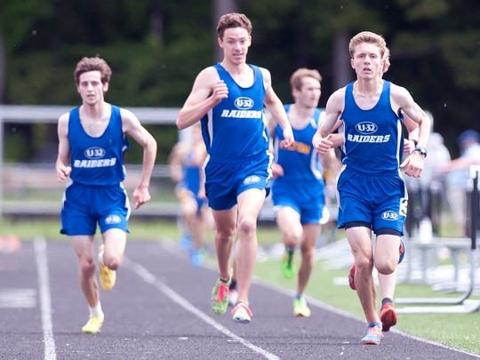 Andrew Crompton, right, leads the 1-2-3-4 finish for U-32 in the boys 1,500 meters during the 2018 Division II high school track and field state championships on Saturday at South Burlington.