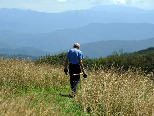 Howard McDonald walks the Appalachian Trail on Max Patch Bald in Madison County in this file photo.