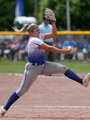 Maine Endwell's Emily Hess pitches during Saturday's class Class A semi-final game versus Averill Park at the NYSPHSAA Softball Championships in Ganesvoort on June 9, 2018.