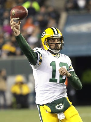 Green Bay Packers quarterback Aaron Rodgers (12) throws a pass against the Philadelphia Eagles at Lincoln Financial Field in Philadelphia, PA, November 28, 2016. Jim Matthews/USA TODAY NETWORK-Wisconsin/@jmatthe79