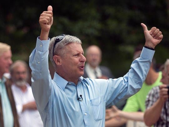 Libertarian presidential candidate Gary Johnson arrives