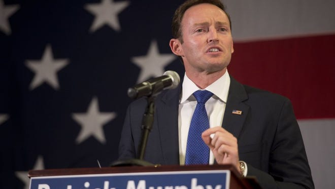 U.S. Rep Patrick Murphy speaks Aug. 30, 2016, in Palm Beach Gardens after winning the Democratic primary in Florida's U.S. Senate race.