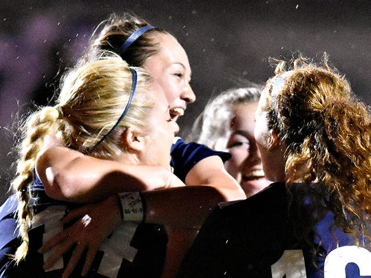 Dallastown vs Dover during the York-Adams League girls soccer championship game in Glen Rock, Pa. on Thursday, Oct. 22, 2015. Dallastown would win the game 3-2 in double overtime. Dawn J. Sagert - dsagert@yorkdispatch.com