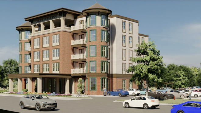 Renderings of the proposed Court House Inn hotel in downtown Hendersonville submitted to the city by ODA Architecture.