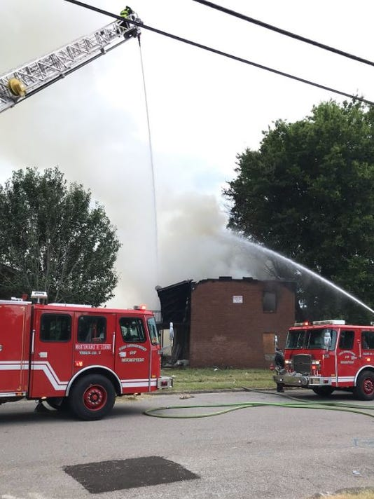 Abandoned complex catches fire