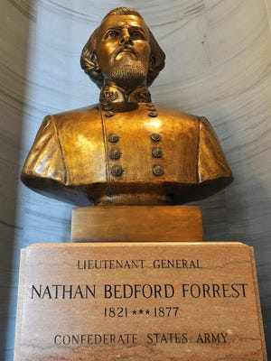 A bust of Nathan Bedford Forrest remains a fixture at the Tennessee state Capitol outside the House and Senate chambers.