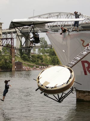 """Red Bull Flugtag contestant """"Rocky Top Rocket"""" from Kentucky flies into the  Cumberland River at Riverfront on Saturday, June 23, 2007.  This team (at the time) set a new North America record with 155 feet. The record has since been broken."""