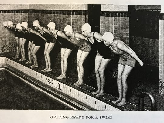 Students prepare to jump into what was then a new pool at Eastman Hall in this photo from the 1931 St. Cloud Teachers College yearbook, copied in the archives of the Stearns History Museum. The hall on the St. Cloud State University campus will undergo renovations starting in 2017.