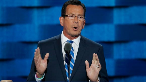 Connecticut Gov. Dannel Malloy (speaking Monday, July 25, 2016, the first day of the Democratic National Convention in Philadelphia) addressed the Indiana delegation Thursday.