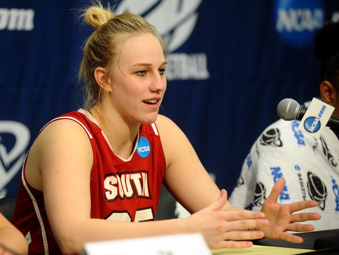 USD's Nicole Seekamp speaks to the media about a NCAA