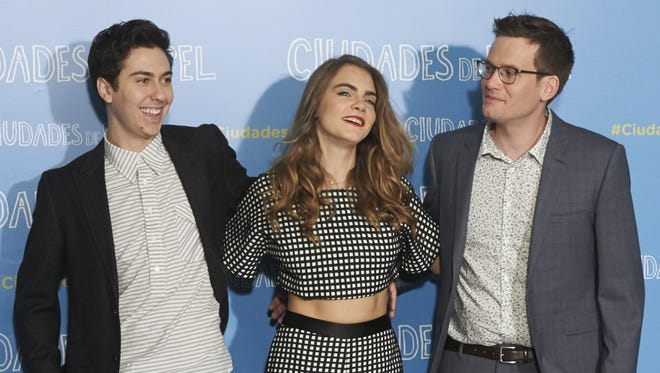 """Actor Nat Wolff , actress Cara Delevingne and author John Green visit Madrid, Spain, on June 15 to promote the upcoming film """"Paper Towns."""""""