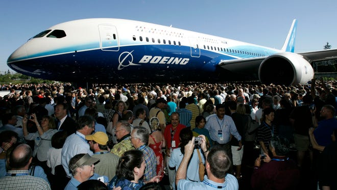 The first production model of the new Boeing 787 Dreamliner airplane is unveiled during a ceremony in this July 8, 2007 file photo.