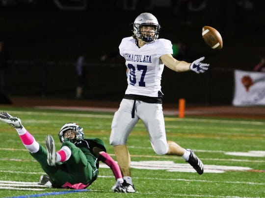 Immaculata's Dwyer Stephen misses the pass during the
