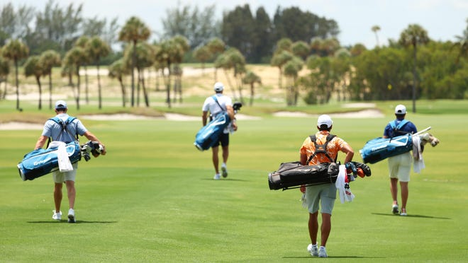 Rory McIlroy, left, Dustin Johnson, center left, Rickie Fowler, center right, and Matthew Wolff walk down the first fairway during Sunday's TaylorMade Driving Relief in Juno Beach.