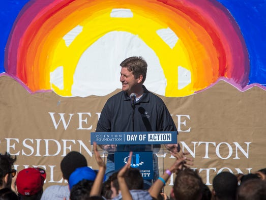 Phoenix Mayor Greg Stanton speaks at the Clinton Foundation's Day of Action, part of the Clinton Global Initiative University, with PHX Renews near Steele Indian School Park in Phoenix, on Sunday, Mar. 23, 2014. A couple hundred students from the U.S. and around the world came to the culmination of the three-day event that aims to transform a previously vacant 15-acre lot into a vibrant and sustainable urban farm and public space.