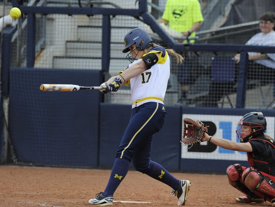 Michigan sophomore catcher Katie Alexander has hit