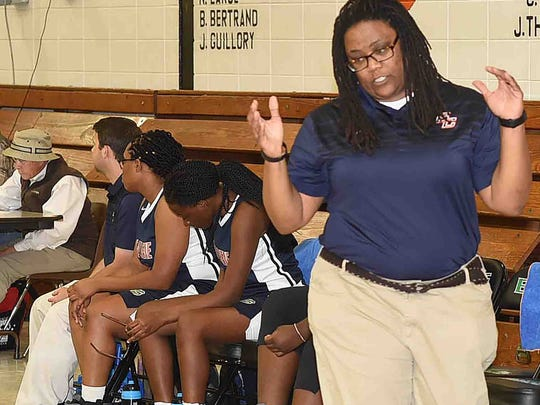 Beau Chene coach Latosha Malone is shown during Thursday's game against Opelousas High.