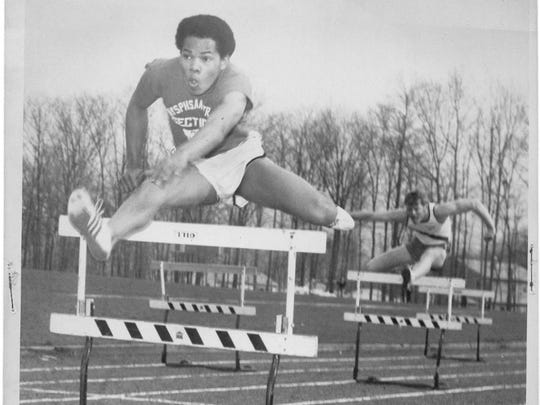 Thad Wilson Sr. set a Nanuet record in the 120-yard hurdles in this dual meet against Pearl River in 1969. Wilson, a six-time Rockland champ, 30-time national masters champ and 10-time world masters champ, will be inducted into the Rockland County Sports Hall of Fame Saturday night.