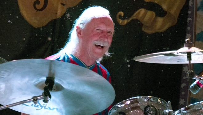 Drummer Butch Trucks is shown playing his kit recently with the Freight Train Band.