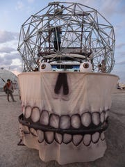Volunteers work on the Brain art car Burning Man 2014. (for Kartina's story)