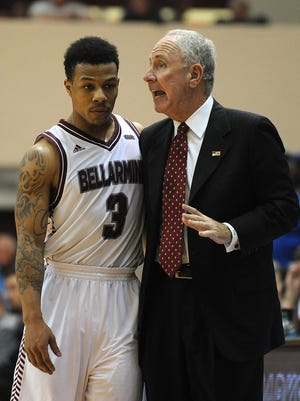 Bellarmine head coach Scott Davenport (right) talks with Chris Whitehead as the Knights take on Lake Superior State on Sunday in the semi finals of the Midwest Regionals at Bellarmine University. (By David Lee Hartlage, Special to the C-J) March 15, 2015.