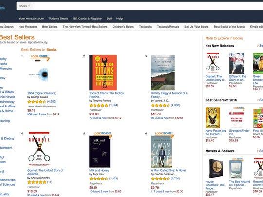 Amazon.com's Best Seller list of books on Wednesday