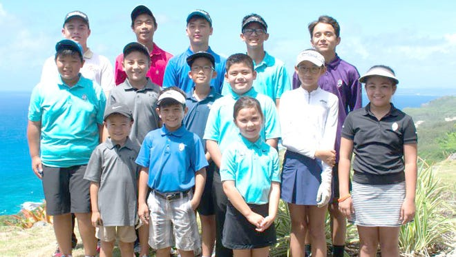 Guam's top 14 junior golfers will compete July 10-13 for the IMG Academy Junior World Championships in San Diego. Back row, from left: Brentt Salas; Jayque Vales; Ivan Sablan; Markus Nanpei; and Ian Paulino. Middle row, from left: Danny Zheng; Mackenzie Ujie; Aidan Kang; Raymond Blas; Kaley Kang; and Tyanna Jacot. Front row, from left: Jacob Ujie; Trey Jacot; and Krisana Fenton.