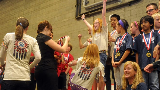 Youngsters from Mesa Union School react to winning a division competition during the 2014 Camarillo Academic Olympics.