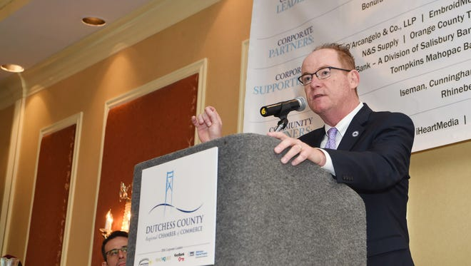 City of Poughkeepsie Mayor Rob Rolison speaks at a Dutchess County Regional Chamber of Commerce's Contact Breakfast last year.