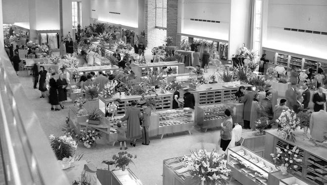 The new Julius Lewis store at 1460 Union at McNeil was a scene of fairyland beauty when it opened on March 16, 1951, as soft, colored lights played upon the new fixtures and merchandise and floral designs from friends and well-wishers bloomed in aisles and on counters. Thousands attended the store's opening.