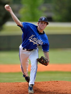 St. Joe's starting pitcher Sean McDermott delivers a pitch. McDermott threw a no-hitter. St. Joe's hosted Calhoun County in an elimination game of the  Class A District I baseball playoffs Saturday, May 2, 2015.