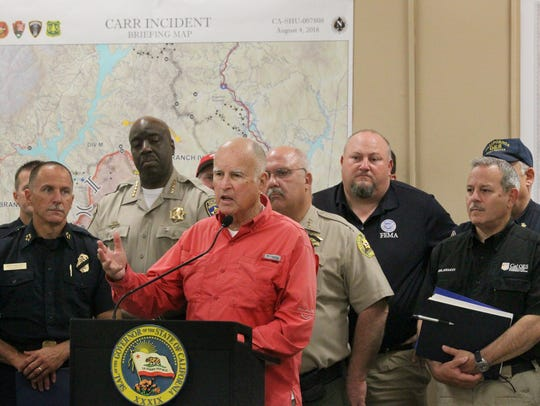 Gov. Jerry Brown on Saturday holds a press conference