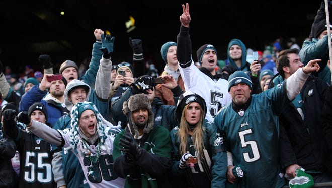 Fans of the Philadelphia Eagles ? many undoubtedly from South Jersey ? celebrate the team?s victory over the New York Giants in a January 2009 National Football Conference divisional playoff game. The two teams have had a storied rivalry dating to the earliest years of the National Football League. Eagles fans are all that remain following an NFC Divisional Playoff Game between the Philadelphia Eagles and New York Giants at Giants Stadium in East Rutherford, NJ, on Sunday, January 11, 2009.
