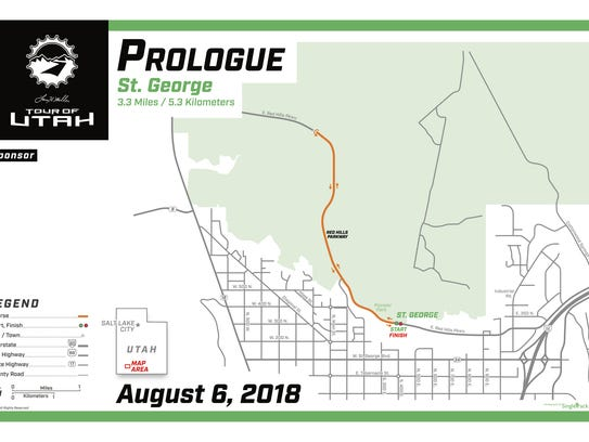 Map of the Tour of Utah Prologue race in St. George