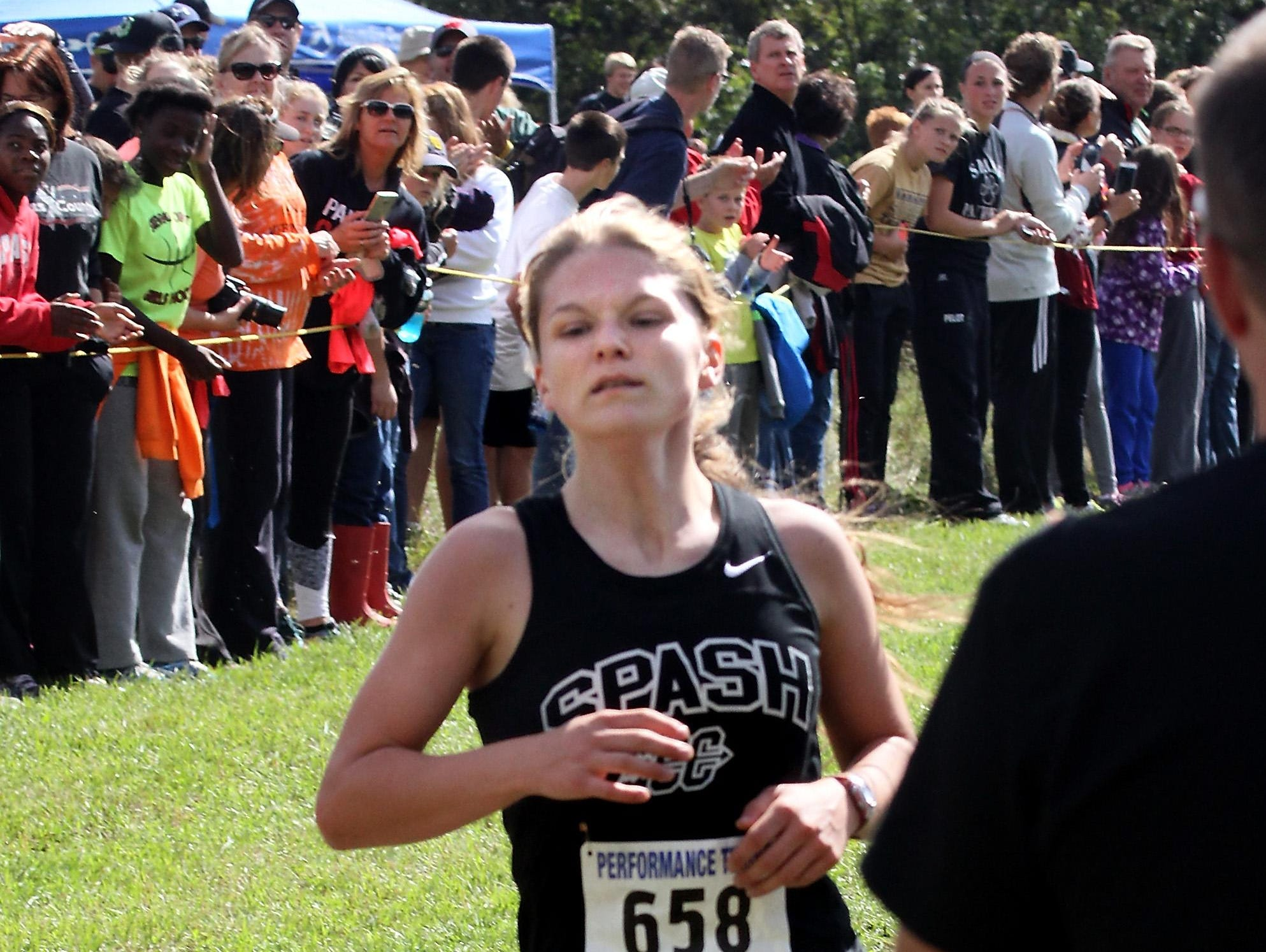 Autum Shurbert-Hetzel, SPASH, finishes first in the the SPASH Invitational Saturday at Standing Rocks County Park near Plover.