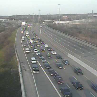 Slow traffic on I-71 North at Denison Ave.