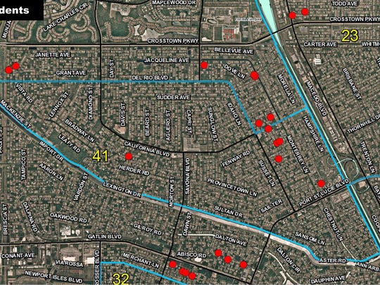 A map shows locations where vehicles were vandalized early Tuesday, May 23, 2017, in Port St. LUcie. Police suspect a BB gun was used to cause the damage.
