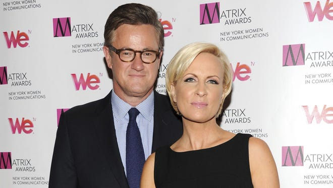 "In this April 22, 2013 file photo, MSNBC's ""Morning Joe"" co-hosts Joe Scarborough and Mika Brzezinski, right, attend the 2013 Matrix New York Women in Communications Awards at the Waldorf-Astoria Hotel in New York."