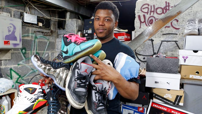 Gabriel Jean-Gilles, co-owner of Addicted 2 Sneakers, is photographed April 28, 2015, in Nyack. They are preparing for the Addicted 2 Sneakers Spring Expo at Dominican College on May 2.