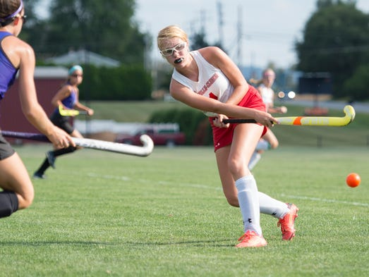 Annville-Cleona's Emily Feibig passes the ball towards