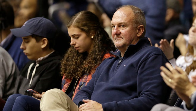 Former Butler Bulldogs and Ohio State basketball coach Thad Matta watches from the front row seats in the second half of their game at Hinkle Fieldhouse Saturday, Dec. 30, 2017. The Butler Bulldogs defeated the Villanova Wildcats 101-93.