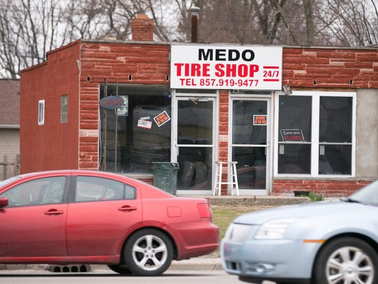 Ahmed Alaklouk, who, according to court records, owns Medo Tire Shop, 3546 W. 16th Street, Indianapolis, Sunday, March 11, 2018. On January 20 of this year, Alaklouk had a room at the downtown Hyatt Regency, and illegally possessed a number of firearms, at the time of a rally at the Indiana Statehouse across the street.